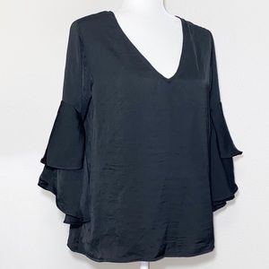 Charming Charlie Black Tiered Ruffle Sleeve Blouse